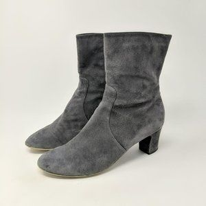 Aquatalia Gray Round Toe Ankle Suede Boots